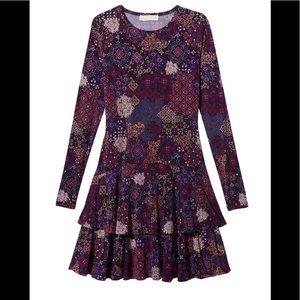 Michael Kors Mega Patchwork Printed Tiered Dress